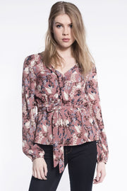 Floral Wrap Top in Blush
