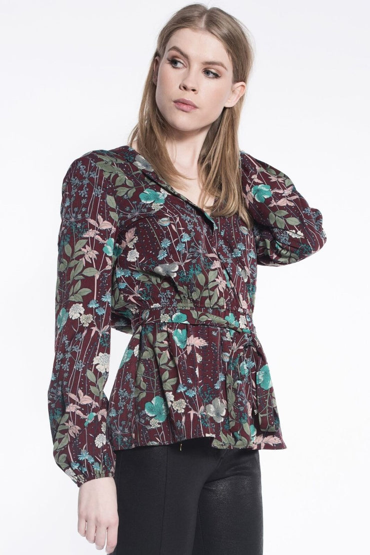 Floral Wrap Top in Burgundy