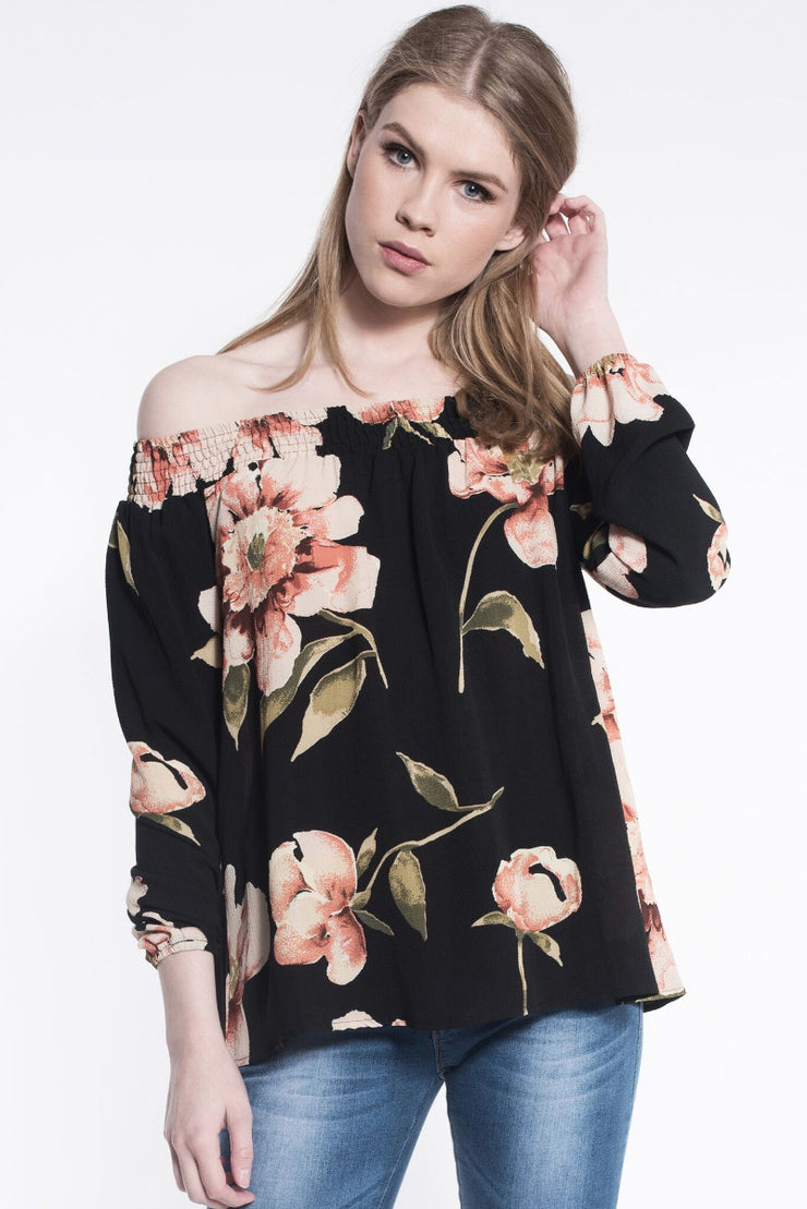 BARDOT FLORAL TOP IN BLACK