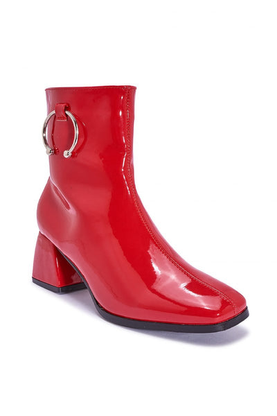 Red Patent block heel ankle boot