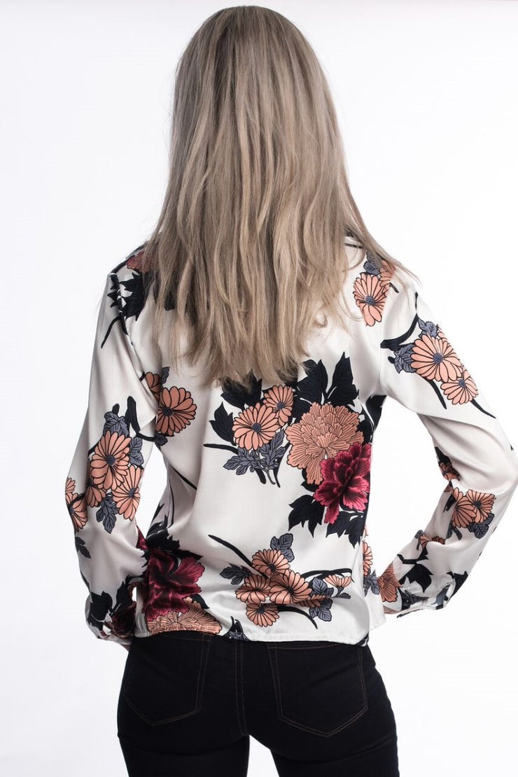 Satin Floral Top White