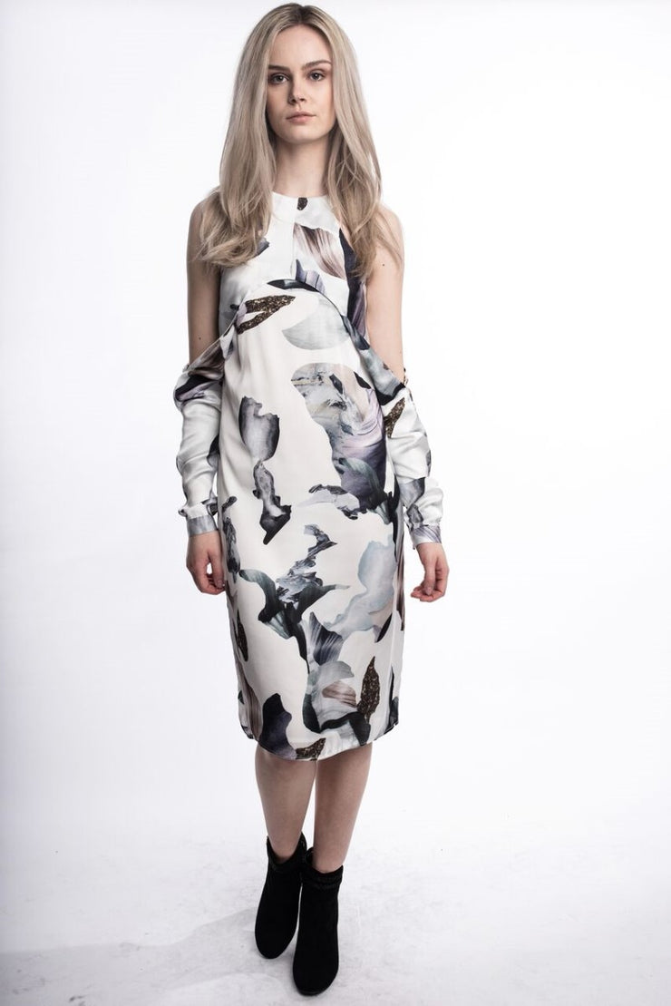 Satin Floral Slit Dress White