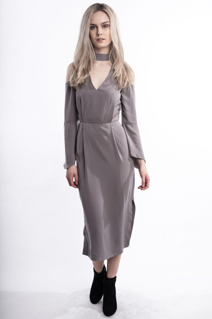 Cut Out Taupe Dress