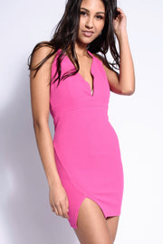 PINK SWEETHEART NECKLINE MINI DRESS