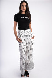 Dot Silk Trousers White