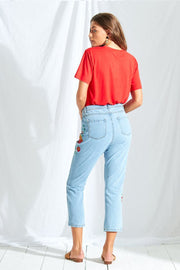 Denim Embroidered Mom Jeans