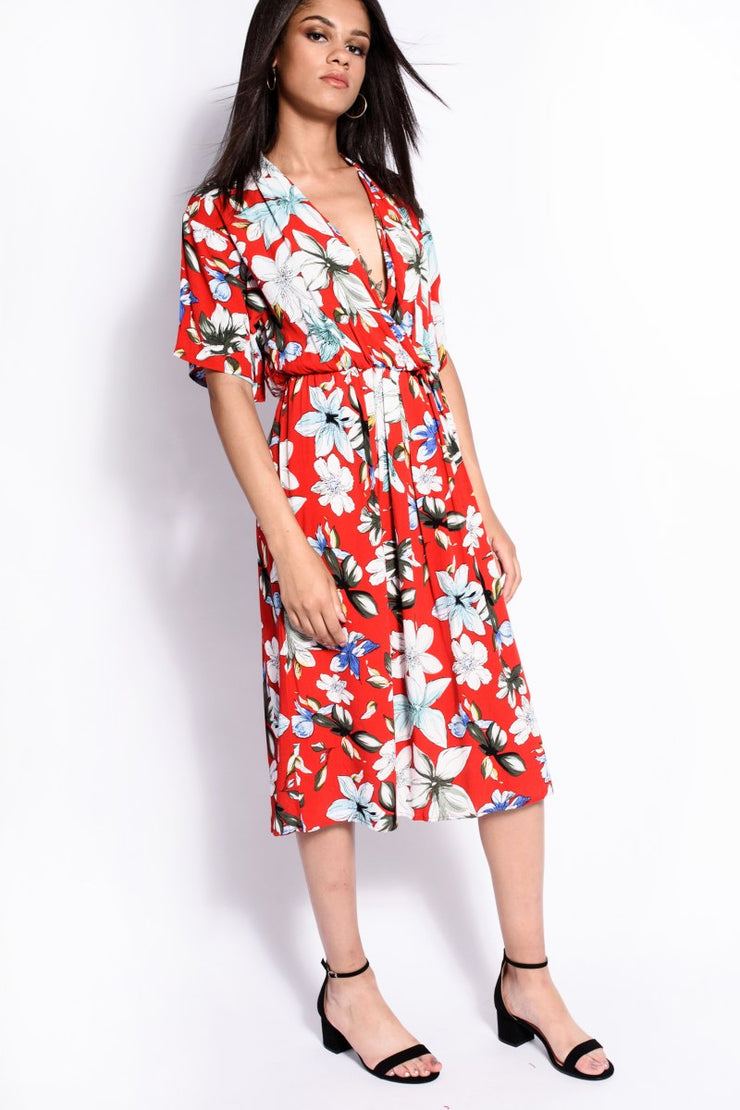 Red Floral Tie Up Wrap Over Dress