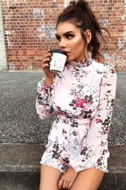 Floral Print High Neck Tie Waist Playsuit