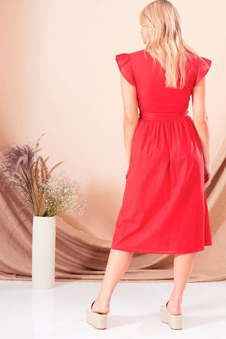 Red Textured Cotton Plunge Dress