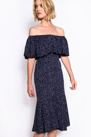 Navy Polka Dot Double Layer Bardot Midi Dress