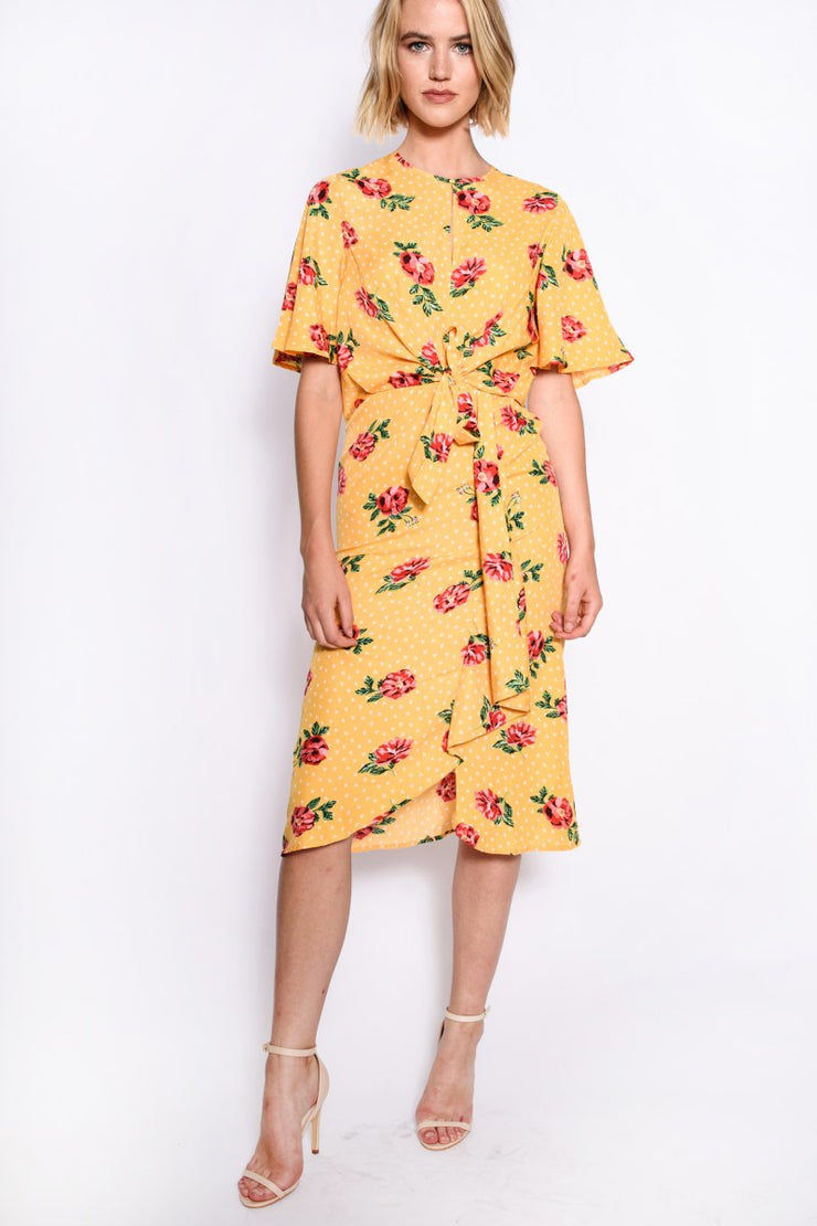 Mustard Multi Print Tie Front Midi Dress