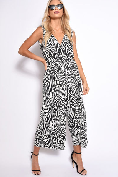 ZEBRA PLEATED CULOTTE JUMPSUIT