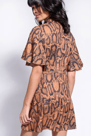Camel Snakeskin High Neck Skater Dress