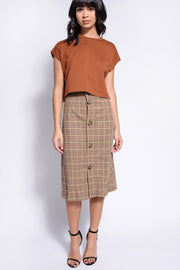 Brown Plaid Button Down Midi Skirt