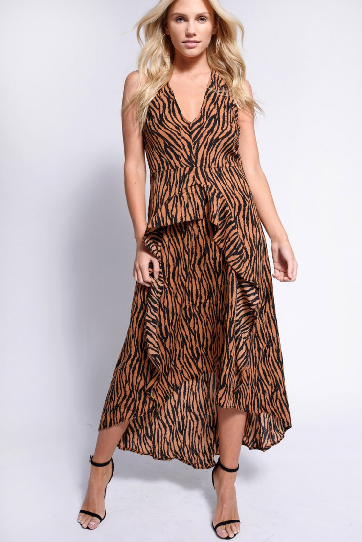 Camel Animal Print Midi Dress