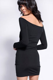 Black Slinky Off The Shoulder Wrap Dress