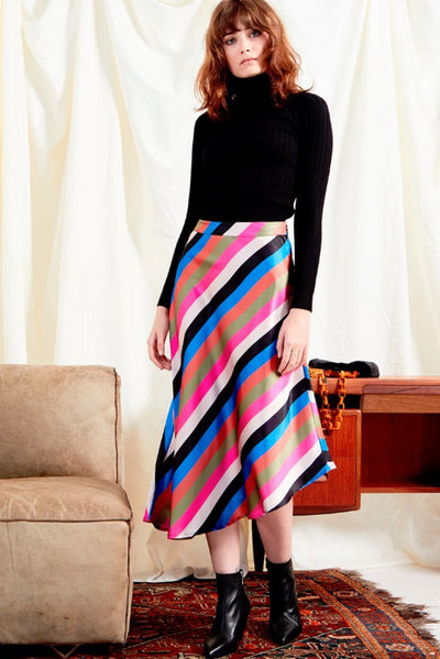 Stripe Satin Midi Skirt