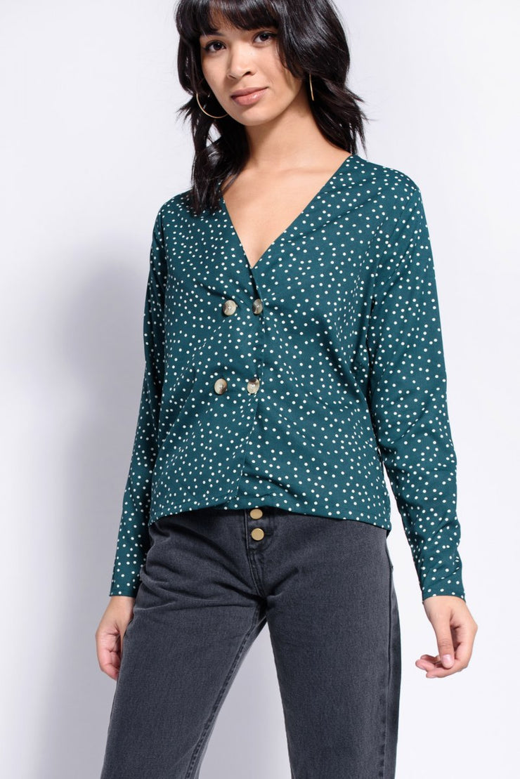 Green Polkadot Double Button Front Blouse