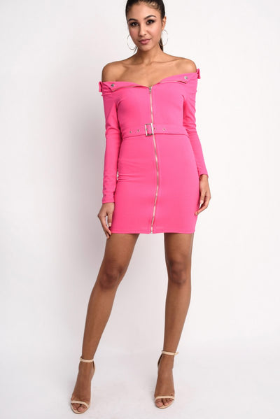 Bardot Zip Front Self Belt Bodycon Mini Dress