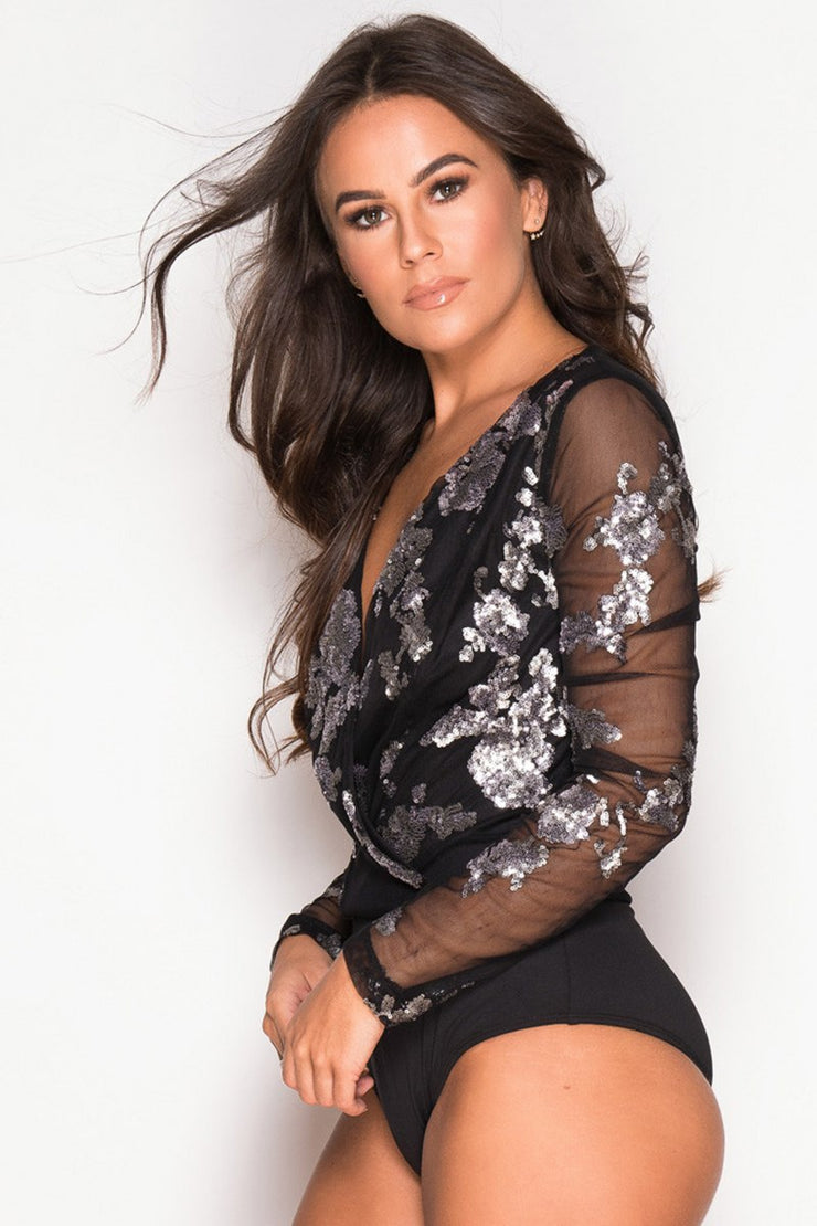 Sequin Long Sleeve Bodysuit