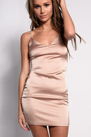 Satin Mini Dress with Diamante Straps