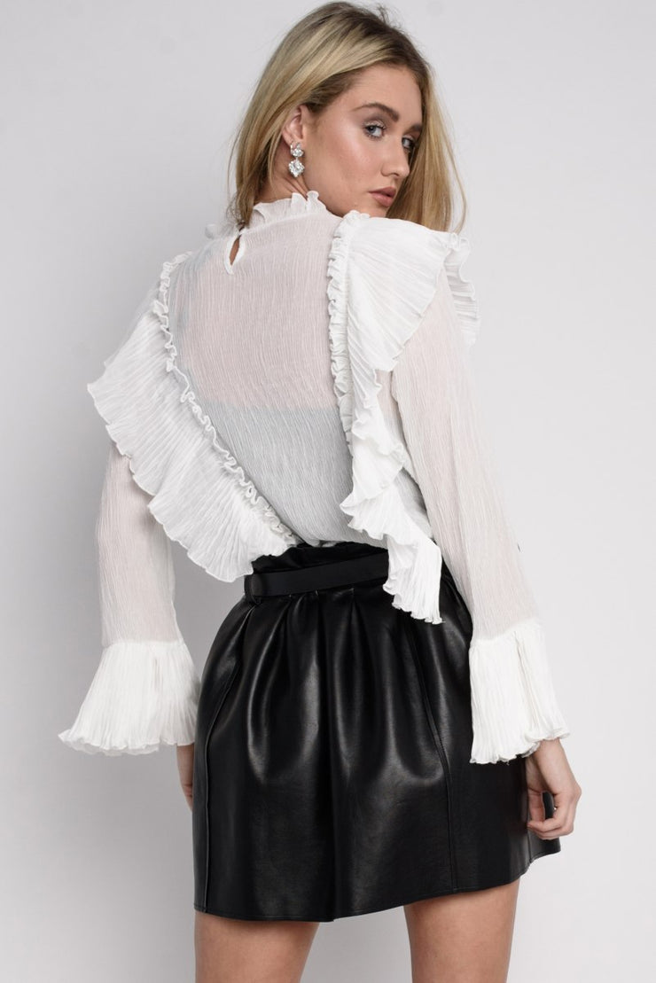 White Frill Peasant Blouse