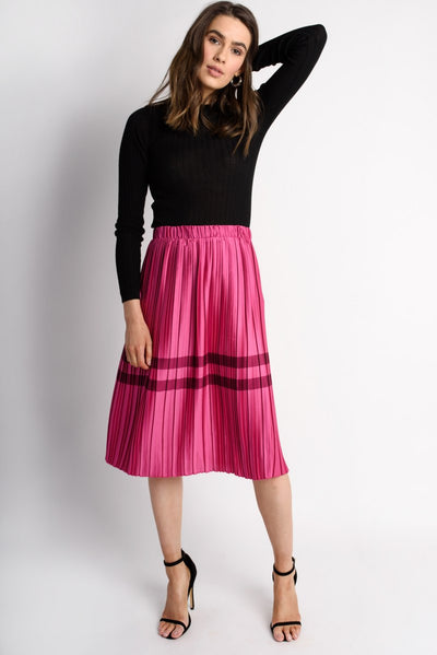 Pink Satin Pleated Skirt