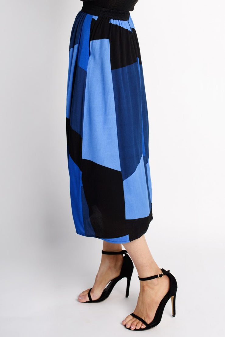 Colour Block Pleated Midi Skirt