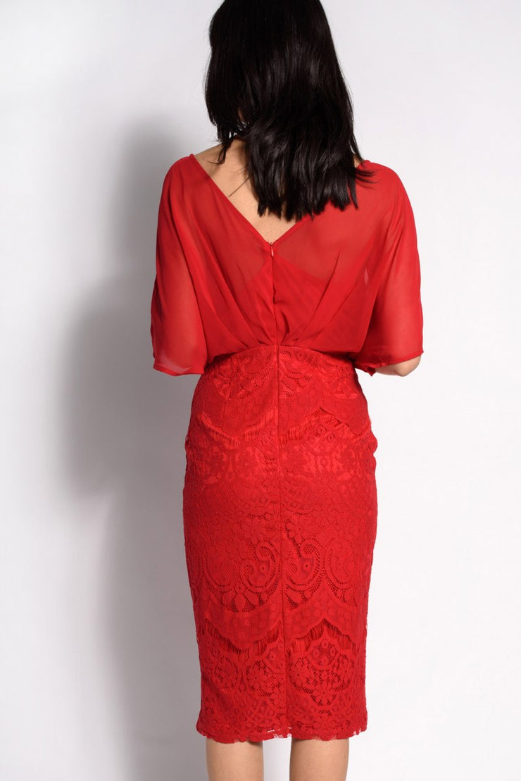 Wrap Lace Batwing Midi Dress