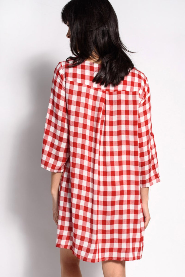 Check Button Down Dress
