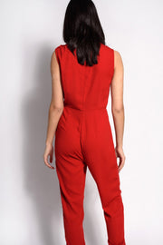 Red Tie Front Jumpsuit