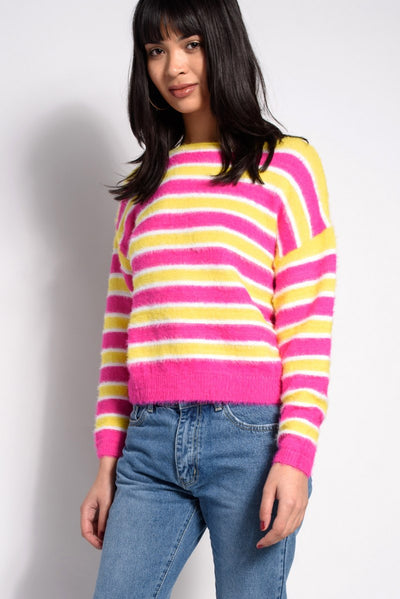 Fluffy Pink and Yellow Stripe Knits