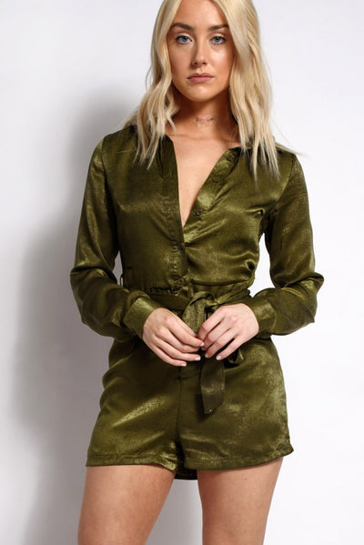 Long Sleeve Utility Playsuit