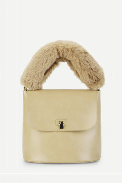 Fur Handle Tote Beige