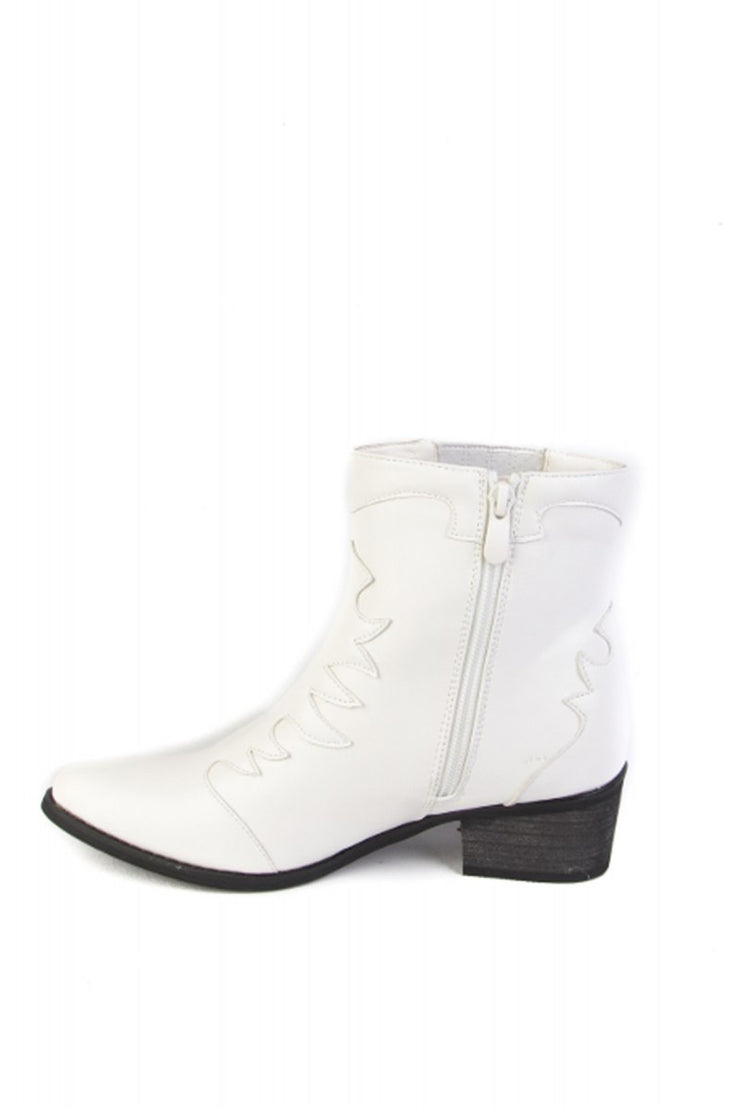 White Western Ankle Boots
