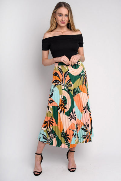 Tropical Print Pleated Midi Skirt