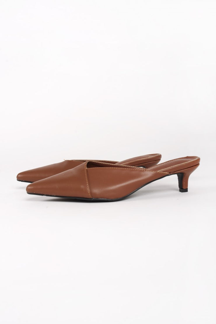 Brown Kitten Heel Mules