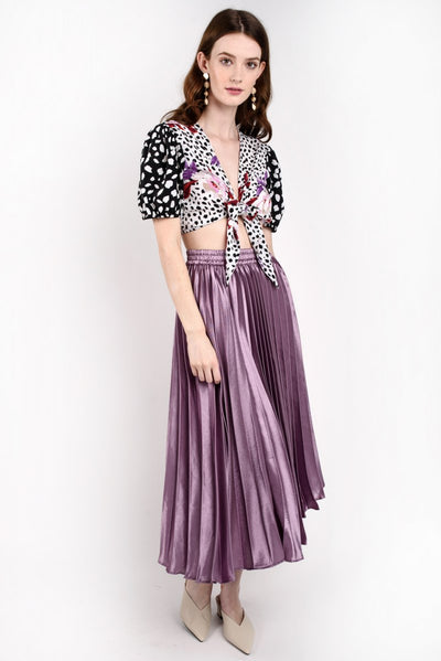 Pleated Shimmer Midi Skirt