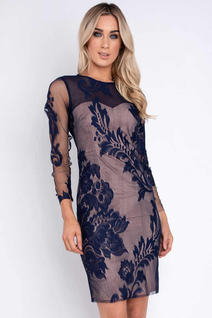 Baroque Lace Dress - Navy