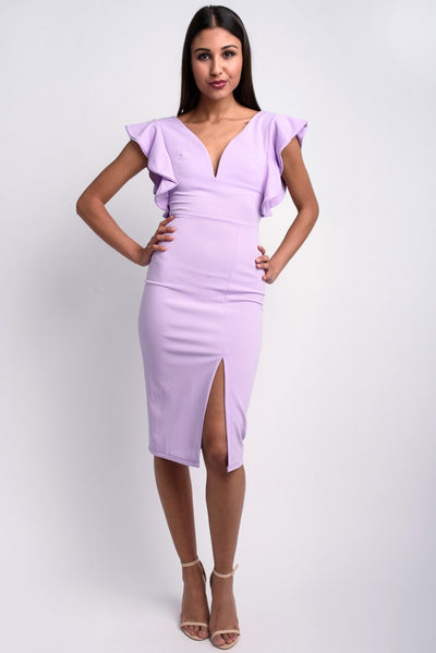 Deep V Midi With Shoulder Frill