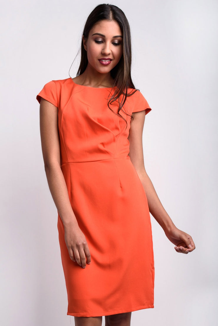 Coral Cap Sleeve Midi Dress