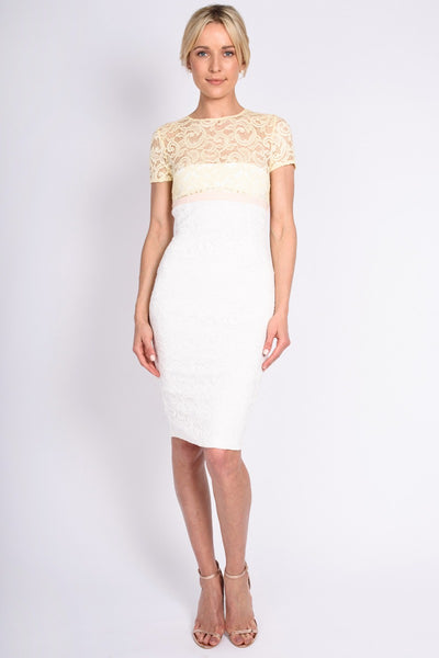 Vesper Klarissa Yellow Lace Pencil Dress