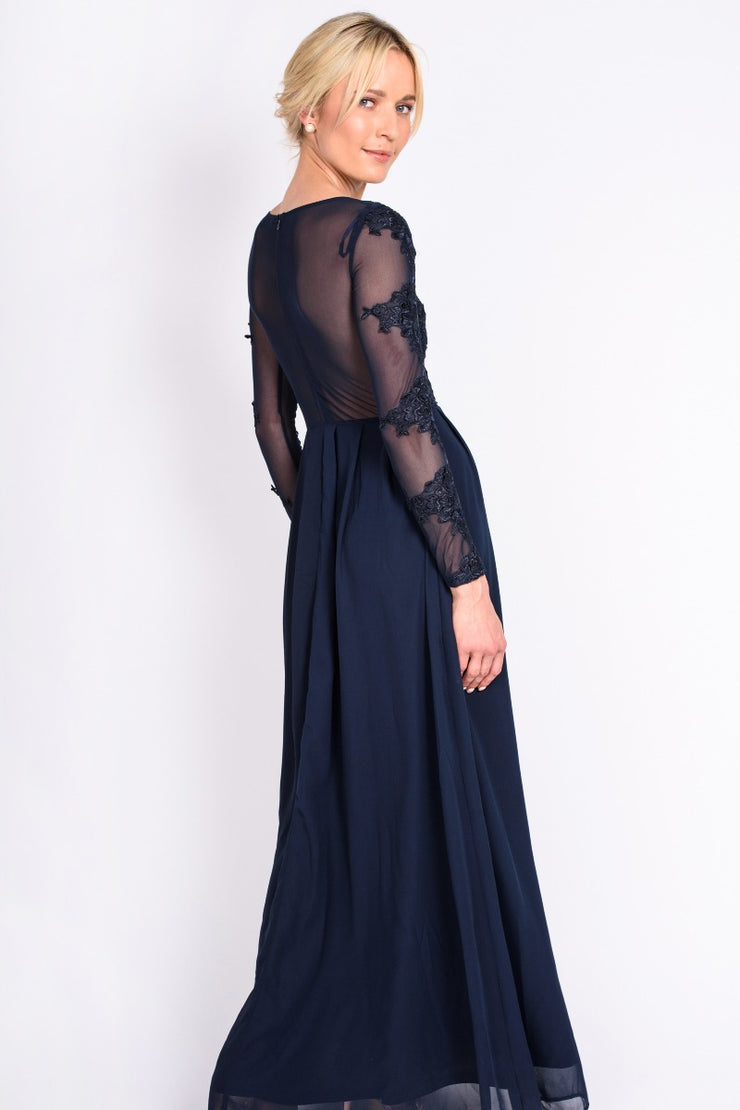 Navy Lace Insert Gown