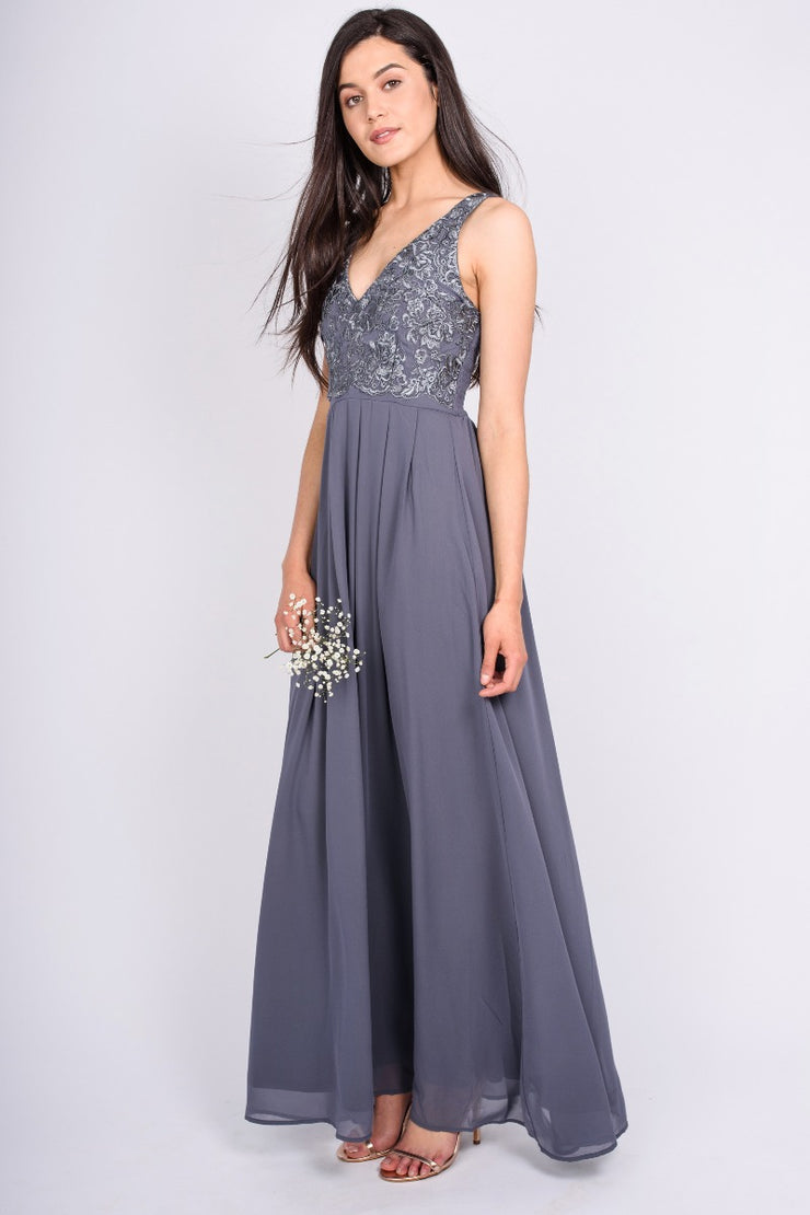 Pewter Lace and Chiffon Gown