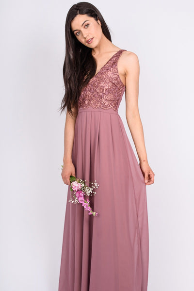 Mauve V Front Lace Top Gown