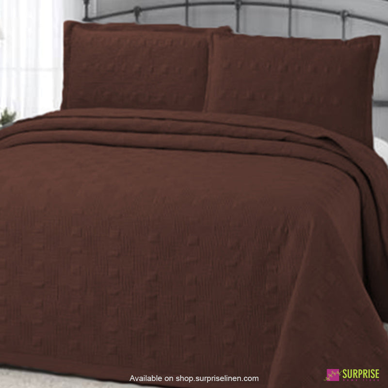 Surprise Home - Elegance 3 Pcs Quilted Bed Cover Set (Coffee)