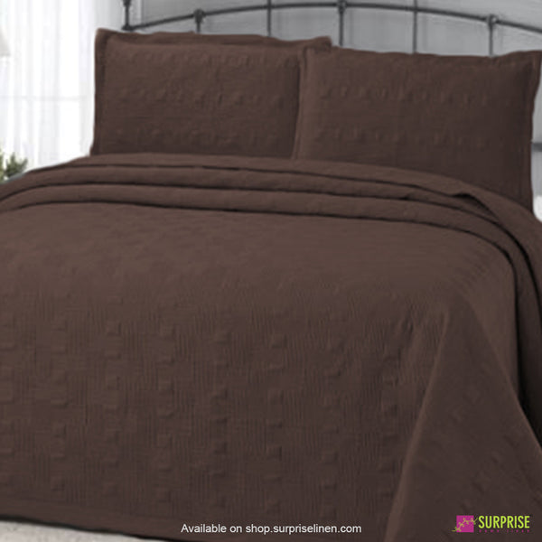 Surprise Home - Elegance 3 Pcs Quilted Bed Cover Set (Brown)