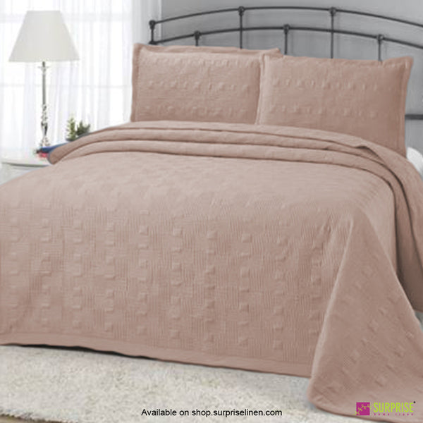 Surprise Home - Elegance 3 Pcs Quilted Bed Cover Set (Natural Brown)