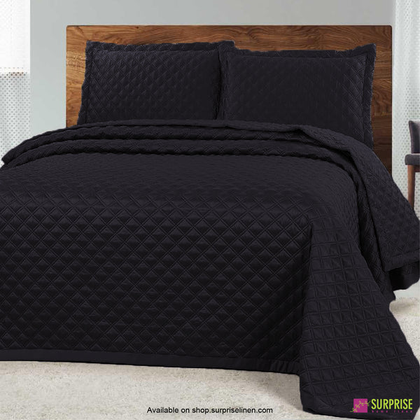 Surprise Home - Luxe 3 Pcs Quilted Bed Cover Set (Charcoal)