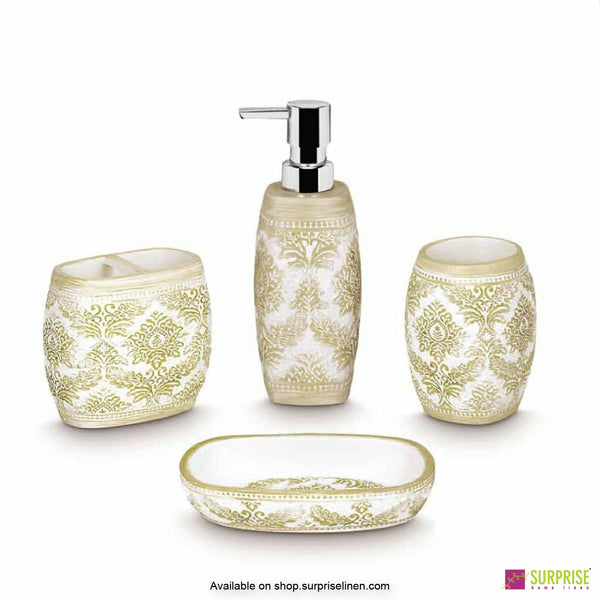Surprise Home - White & Gold 4 Pcs Bath Set